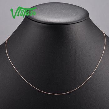 VISTOSO collar de oro para las mujeres 14K 585 Cadena de collar de oro rosa 42cm joyería fina