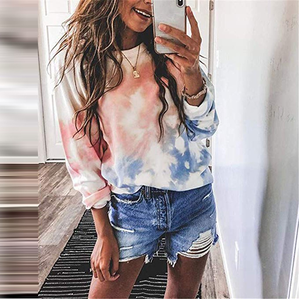 Jaycosin Fashion Women Simple Tie Dyeing Print Sweatshirt Stylish Long Sleeve Comfortable Soft Casual Pullover Blouses 926#3