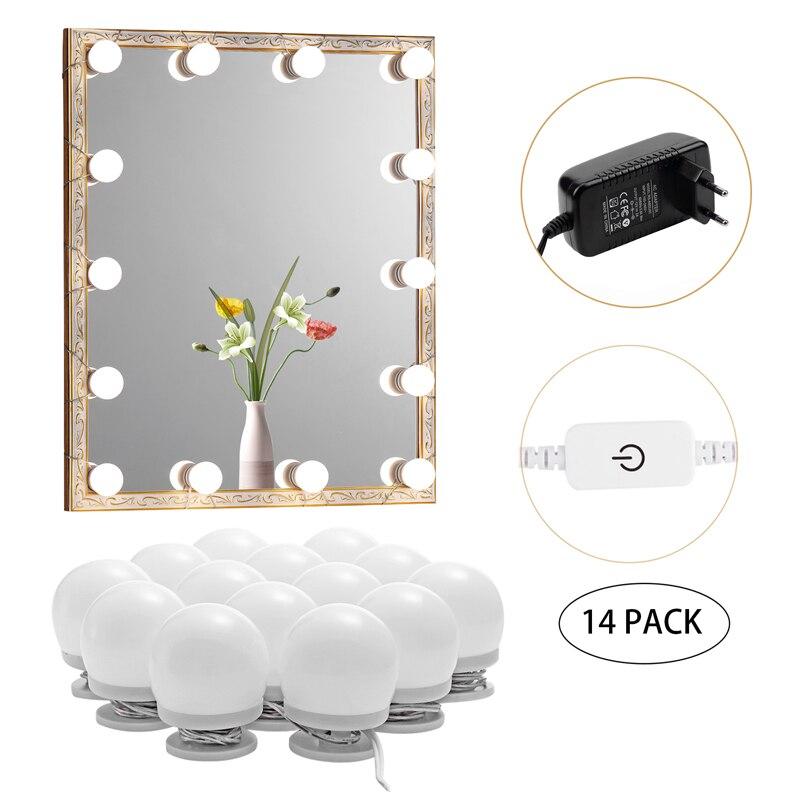 Kit de luz de maquiagem led, 6/10/14/16 toque lâmpadas de espelho regulável, luzes de iluminação de vaidade de hollywood para a parede, banheiro de penteadeira