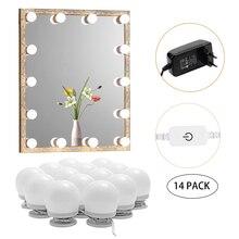 Kit de maquillaje de luz LED, bombillas de espejo con luz regulable táctil 6/10/14/16, luces de iluminación de tocador de Hollywood para pared, tocador de baño