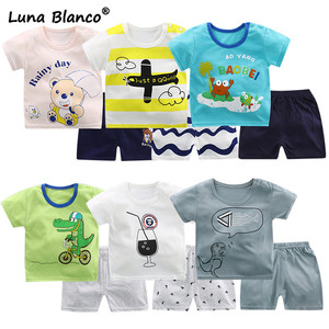 Luan Blanco Summer Baby Suits Short Sleeve Cotton Children's Sets Tops+Pants Boys Suit Babe Kids Boy Cartoon Printed Clothes(China)