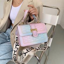 Модные женские сумки на плечо 2020 трендовые градиентная Радужная