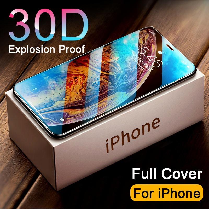 Vetro temperato 30D Full Cover acceso per iphone 11 12 PRO MAX proteggi schermo vetro protettivo per iphone 11 12 X XR XS MAX vetro 1