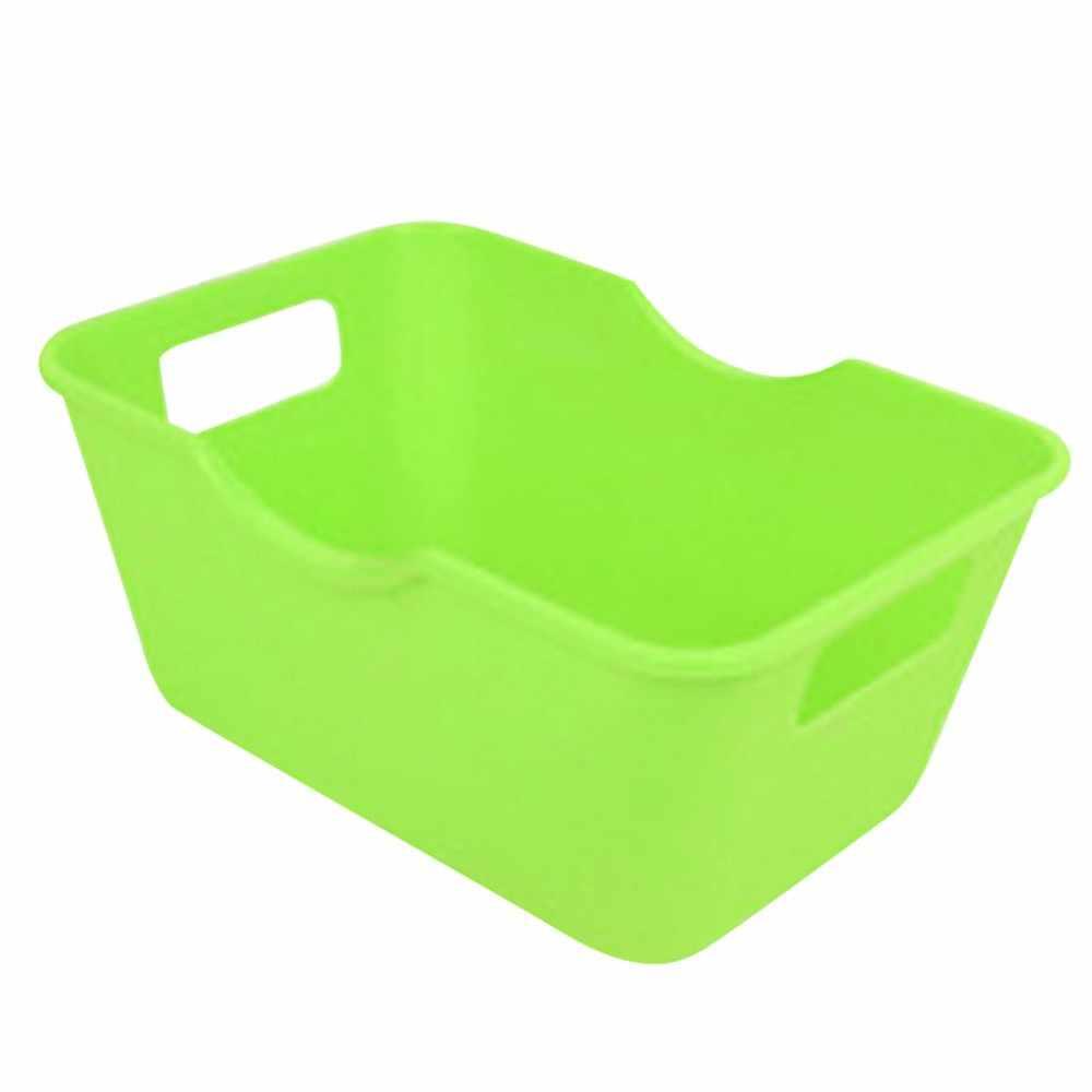Caja organizadora de maquillaje de plástico contenedor de almacenamiento de cosméticos cestas de ratán de imitación caja de maquillaje de escritorio para baño # BL5