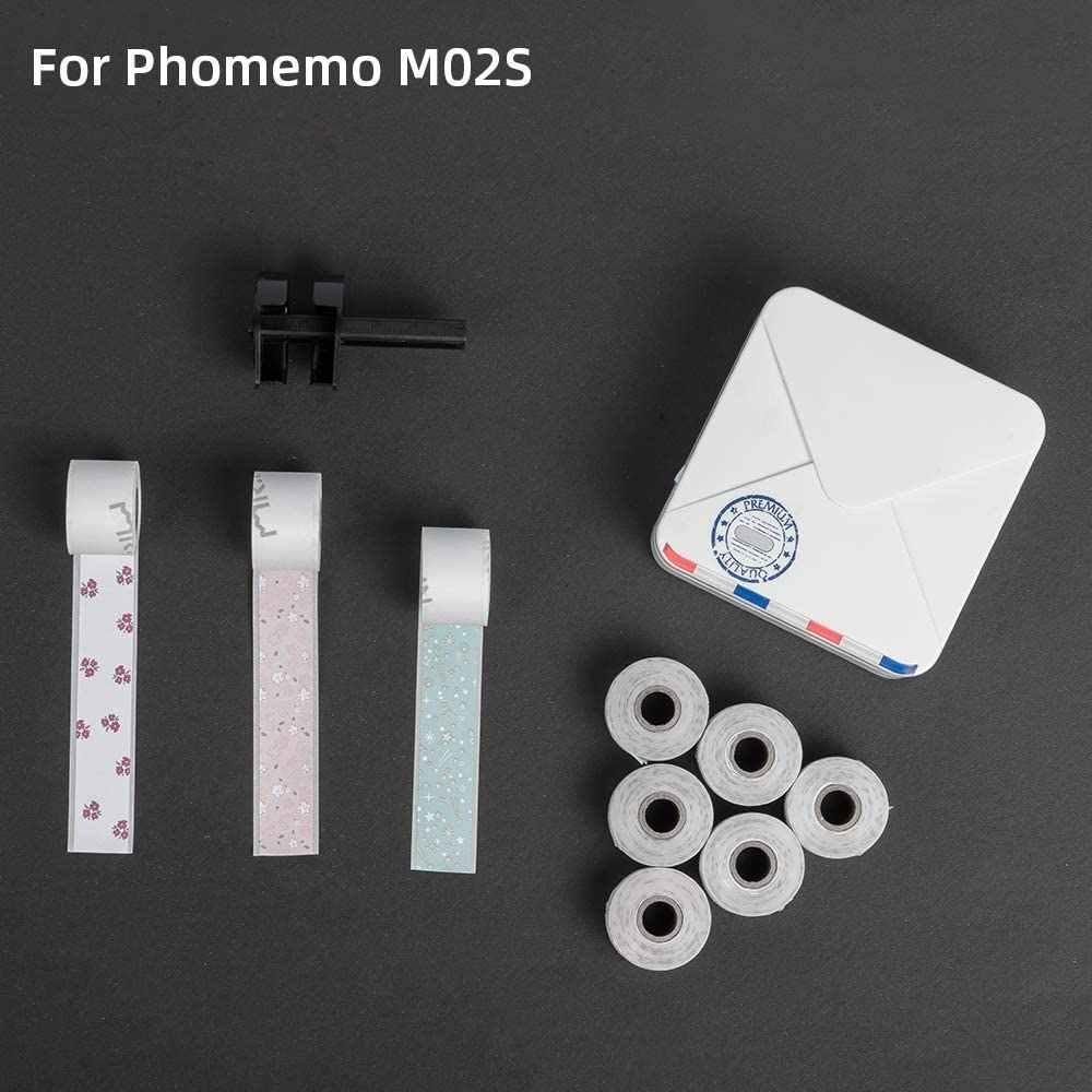 Phomemo Bermotif Thermal Kertas Stiker Hitam Karakter 15 Mm X 3.5 M untuk Phomemo M02S Bluetooth Printer Total 9 Gulungan kertas