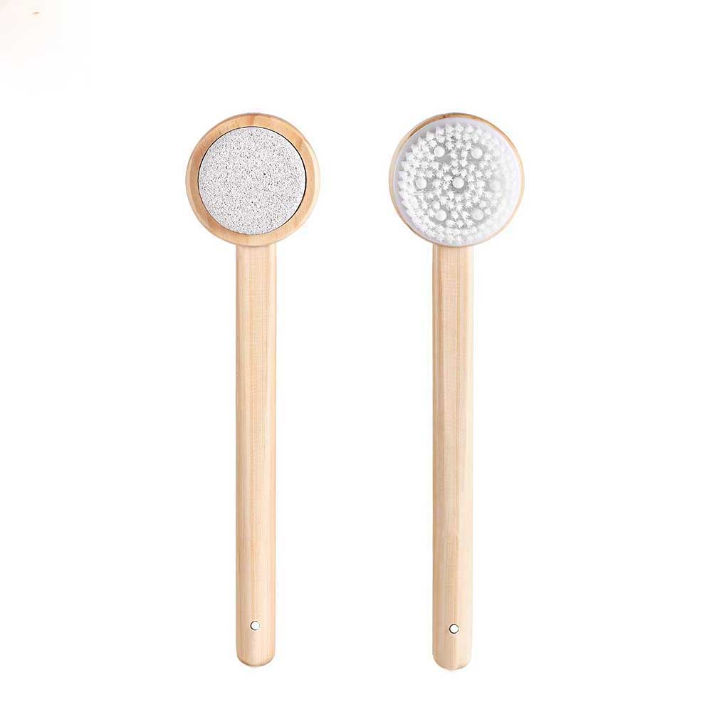 Original Qualitell Bath Brush Body Skin Brush Both Sides Spa Pumice Silicone Massage Long Handle Shower Bathroom Accessories