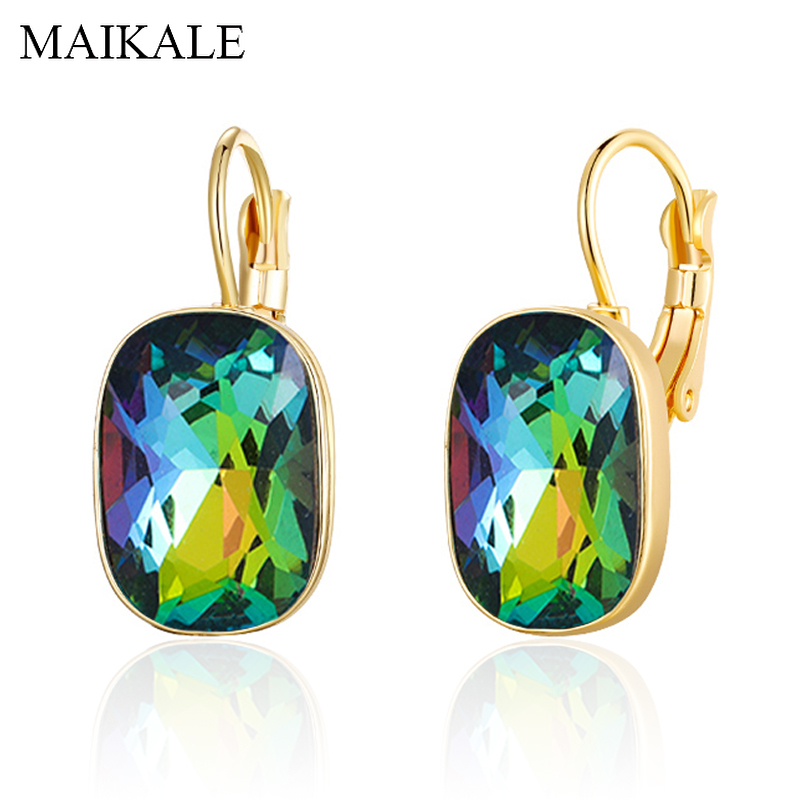 MAIKALE Vintage Square Colorful Austrian Crystal Earrings Gold Silver CZ Rhinestone Big Stud Earrings For Women Party Jewelry