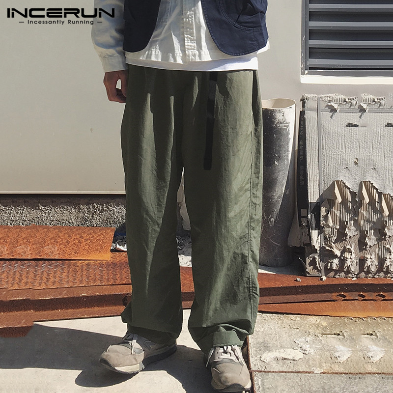 INCERUN Vintage Wide Leg Pants Men Solid Joggers Loose Streetwear Belt Cotton Long Pants Harajuku Casual Trousers Men 2020 S-5XL