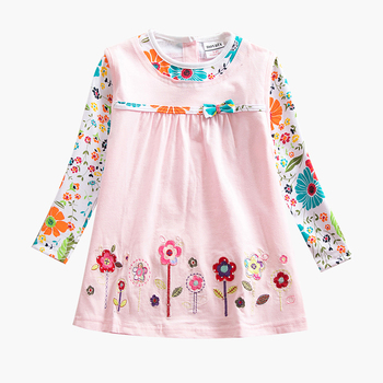 Girls Long Sleeve Dress Cotton Embroidered Dress Autumn New 2~8 Years Old Child Dressed for Girls Dress Long Sleeve H2762 balloon sleeve embroidered applique dress