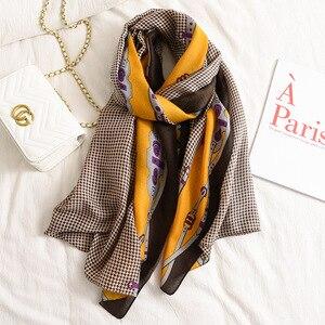 Image 3 - אופנה שיפוע פסים קו שוליים ויסקוזה צעיף צעיף נשים באיכות גבוהה Printe פשמינה גנב Bufandas המוסלמי חיג אב 180*90cm