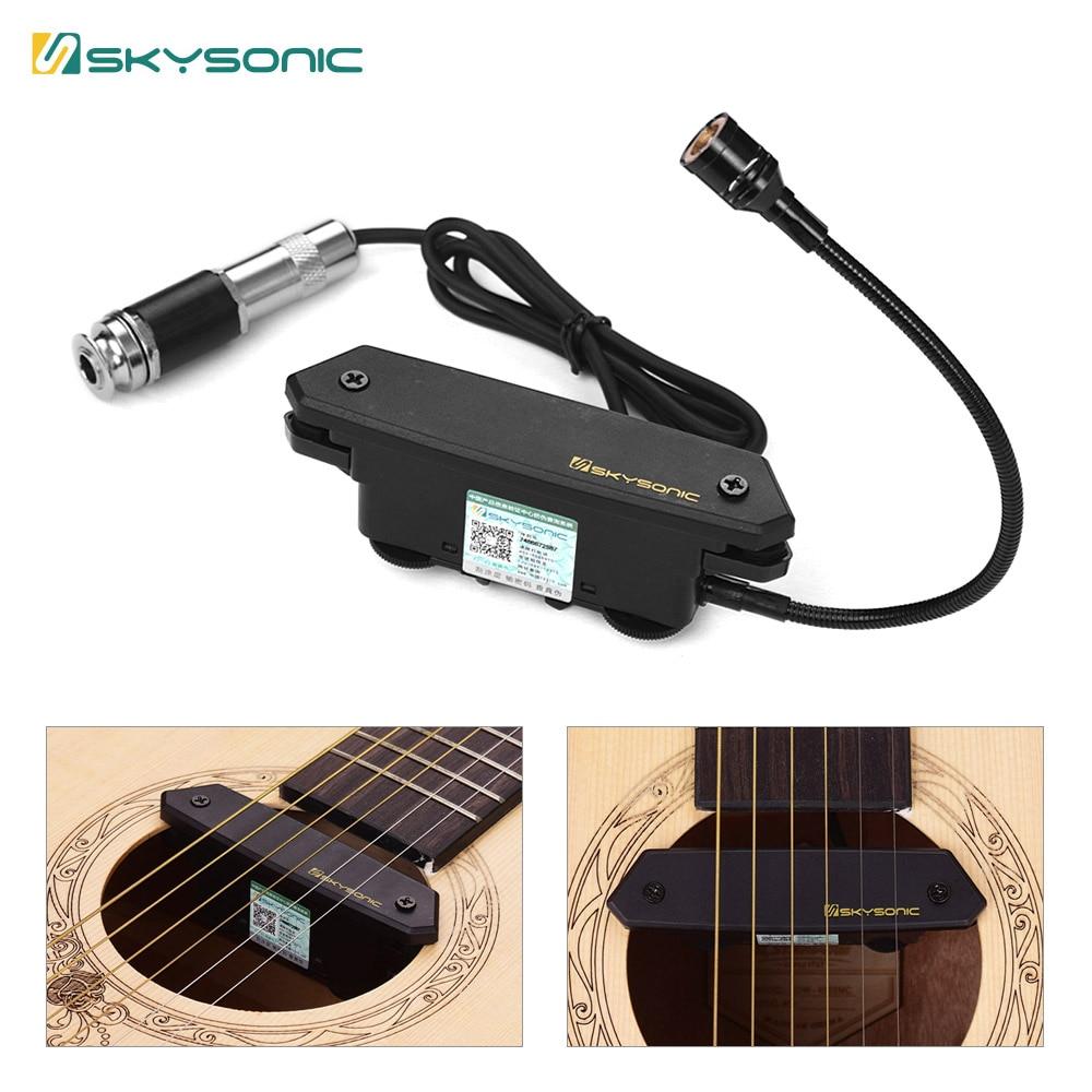 SKYSONIC T-902 micro guitare acoustique magnétique + Microphone double système de ramassage avec commandes de Volume pour guitare Folk classique