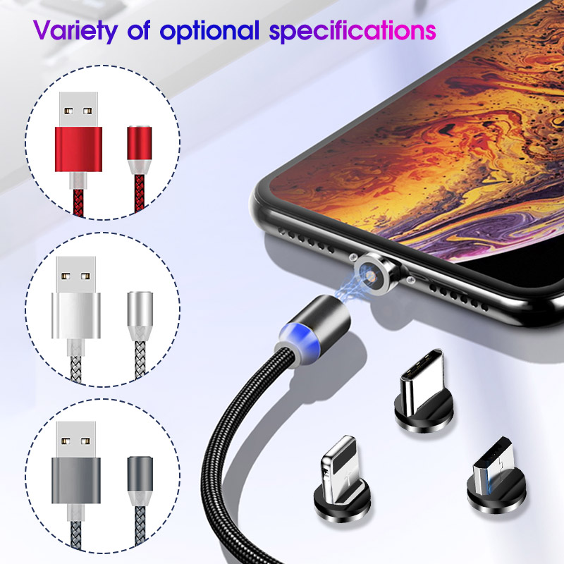 1M 2M Magnetic Fast Charging Cable For iPhone Type C Cables Magnet Charger For Samsung Android Mobile Micro USB Phone Wire Cord