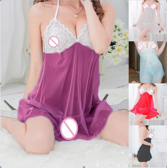 Sexy Babydolls Two Piece Suit Ladies Lace Lingerie Temptation Spaghetti Strap Transparent Nightgown Erotic Underwear Sleepwear