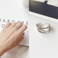 Big New Collection Japan Vintage Wide Surface 925 Sterling Silver Rings Punk Rock Wave Multi-layer Anillos Mujer For Women