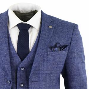 Image 3 - 2020ブルーメンズスーツ3ピースツイードチェック男性スーツ懐中時計テーラードフィットpeaky blinders terno masculino