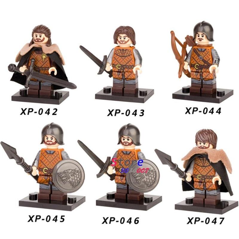 6Pcs Game Of Thrones The Archer Eddard Stark Sword Infantry Lego Moc Minifigures