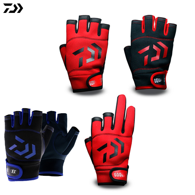 Daiwa Dawa 3 Or 5 Cut Finger Leather Fishing Gloves Top Quality Anti Slip Fishing Gloves/Outdoor Sports Slip-Resistant Gloves image