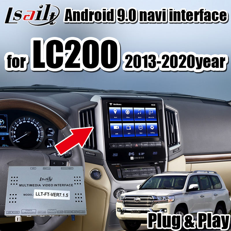 Android 9,0 gps навигация и видеоинтерфейс carplay для Land Cruiser LC200 2013-19 поддержка Andriod Auto , youtube image