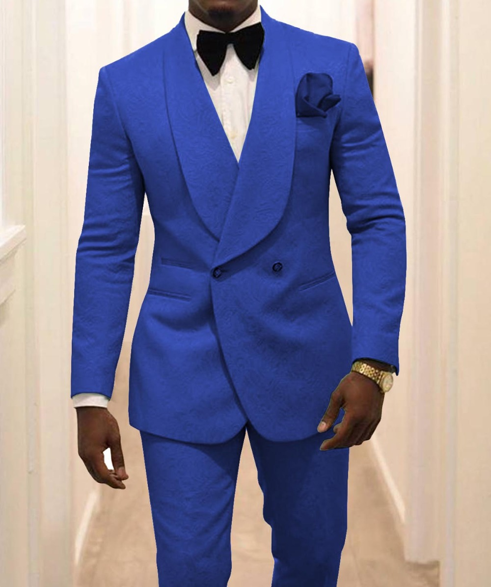 Fashion Royal Blue Men's Patterned Suit Slim Fit 2 Pieces Double-breasted Groomsmen Tuxedos For Wedding Party Prom(Blazer+Pants)