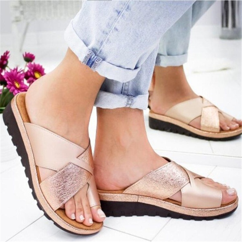Women Artificial PU Shoes Slippers Orthopedic Bunion Corrector Comfy Platform Wedge Ladies Casual Big Toe Correction Sandal