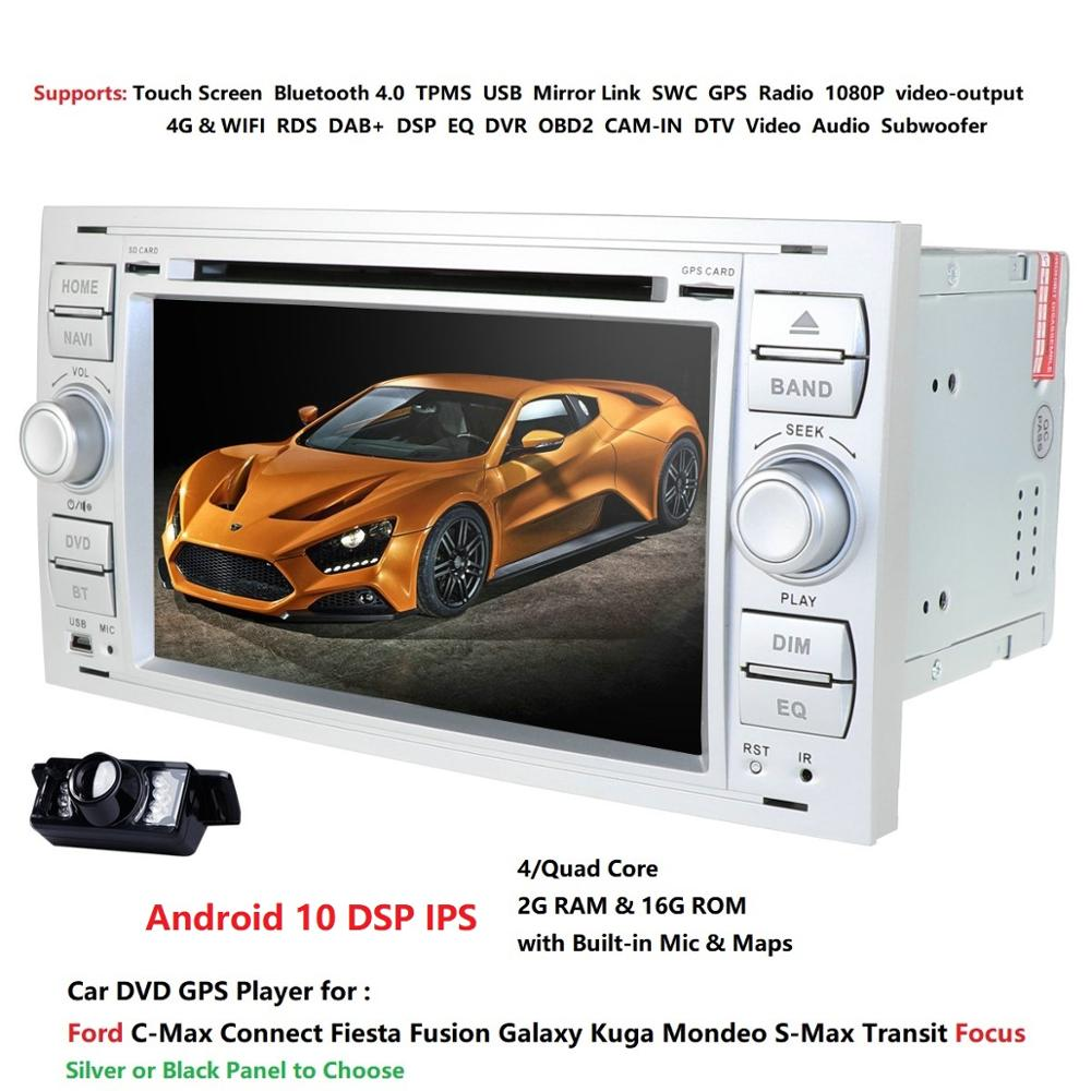 2 Din Auto Radio Android 10.0 For <font><b>Ford</b></font>/Mondeo/Focus/Transit/<font><b>C</b></font>-<font><b>MAX</b></font> Car DVD Multimedia <font><b>GPS</b></font> Player RAM 2GB ROM 16GB DVR DSP FM image