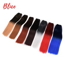 Blice 18-26 Inch Synthetic Hair Extension 1PCS/Pack Bundle Weft Yaki Straight Weaving  Ombre Color Kanekalon Red Grey