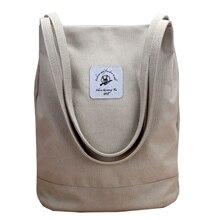 Casual Canvas Bag Women Portable Tote Shoulder Shopping Bags Multifunction Reusable Large Capacity Pack Solid Bolsa