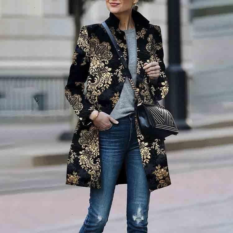 Женское Ретро Черное пальто с цветочным принтом кардиган с длинными рукавами винтажная куртка тонкое элегантное пальто верхняя одежда