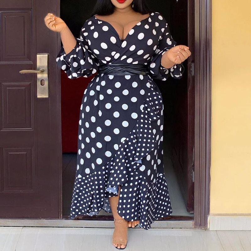 4XL 5XL Plus Size Office Ladies Vintage Black Women Long Dress High Waist African Robe Polka Dots Falbala Female Fall Dress 2019
