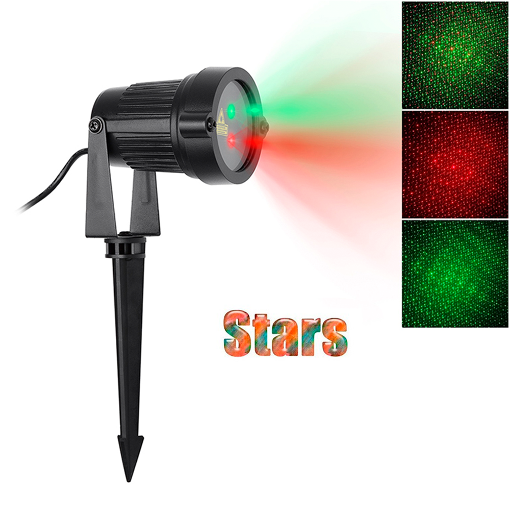 Red Green Star Laser Shower Light Outdoor Garden Static Lamp Aluminum Decoration Waterproof Lawn Christmas For Xmas