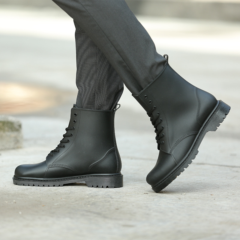 fashion men's Martin rain boots men's matte non-slip wear-resistant rain boots PVC rubber shoes casual short men's water shoes