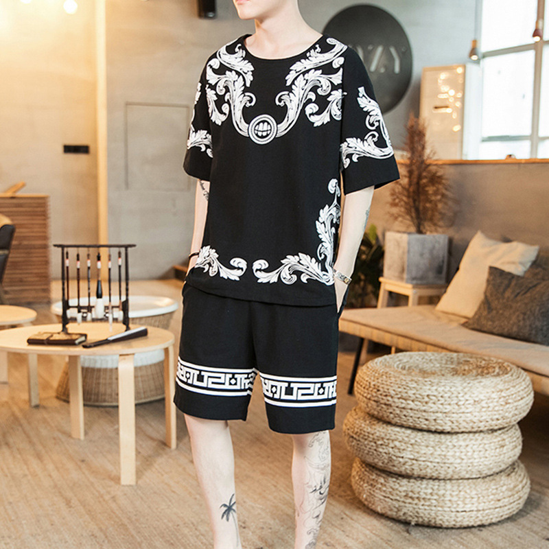 Printed Cotton Linen Set 2019 Summer New Style Chinese-style Youth Men Cotton Linen Casual Short Sleeve T-shirt