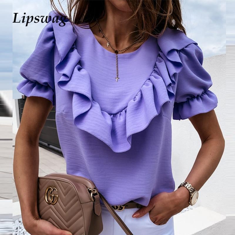 Elegant Women O Neck Blouse Shirt Casual Summer Ruffle Short Sleeve Beach Shirts Pullover Lady Solid Spring Chiffon Tops Blusa