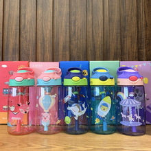 Tritan Cute Water Bottle for Kids BPA Free Children Kettle Cartoon Drink Plastic Sport with Straw Portable Baby Milk Cup Gift baby feeding water bottle portable no spill cup my plastic bottle children s small kettle with straw food grade slide cover copo