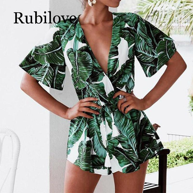 Rubilove Summer Jumpsuit For Women Sexy Leaf deep v neck Overalls casual ruffles sleeve Bandage Playsuits body Femme in Rompers from Women 39 s Clothing