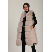 Bean Paste Pink Women Vest Long Style Real Fox Fur Blocky Fur Splicing A Shape Coat Slim And Beautiful For Girl With Pocket S 2X
