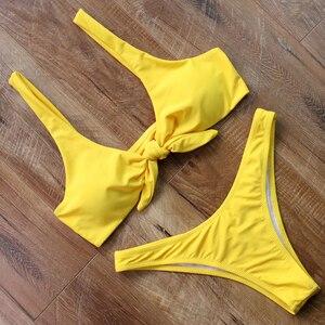 Bikinis con lazo en la parte delantera, bañador Sexy de mujer, traje de baño de estilo vendaje, bañador amarillo de Tanga, traje de baño del 2018