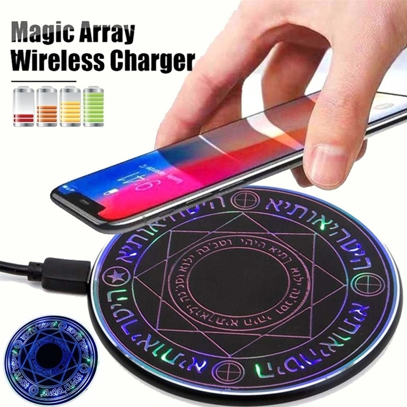 5W Wireless Charger Newest Quick Charge Glowing Magic Array Qi Wireless Charger Charging Pad For IPhone Samsung Huawei Xiaomi