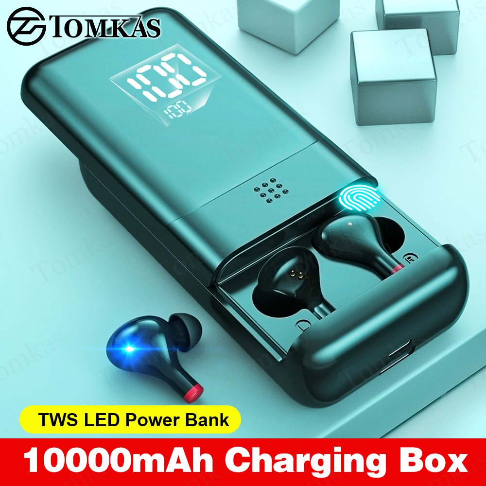 TWS Wireless Bluetooth Earphone LED 10000mAh Charging Box Stereo Earbuds Noise Cancelling Waterproof Wireless Bluetooth Headsets