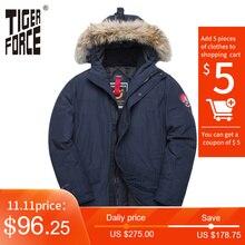 TIGER FORCE Alaska kurtka zimowa dla mężczyzn Parka wodoodporny płaszcz ocieplany kurtki z prawdziwym futrzany kaptur męski Snowjacket znosić