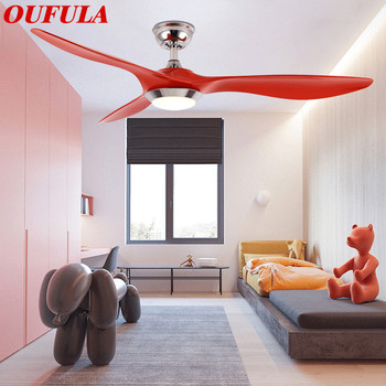 OUFULA Modern Ceiling Fan Lights With Remote Control Fan Lighting For Home Foyer Dining Room Bedroom white glass ceiling lamp modern design frosted glass shade light home collection lighting bedroom foyer doorway cloud lights