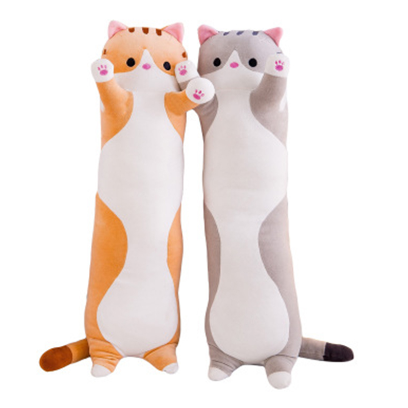 Cute Large Realistic Animal Soft And Comfortable Long Cat Plush Animal Toy Plush Cat Pillow Children Birthday Gift Toy     Sp038