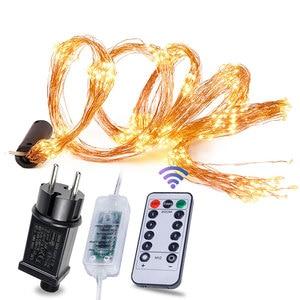 Image 1 - 8 modu şelale peri ışıkları 15/20/30 teller demet dize ışıkları fiş Firefly düğün çelengi bitkiler ağacı parti dekor