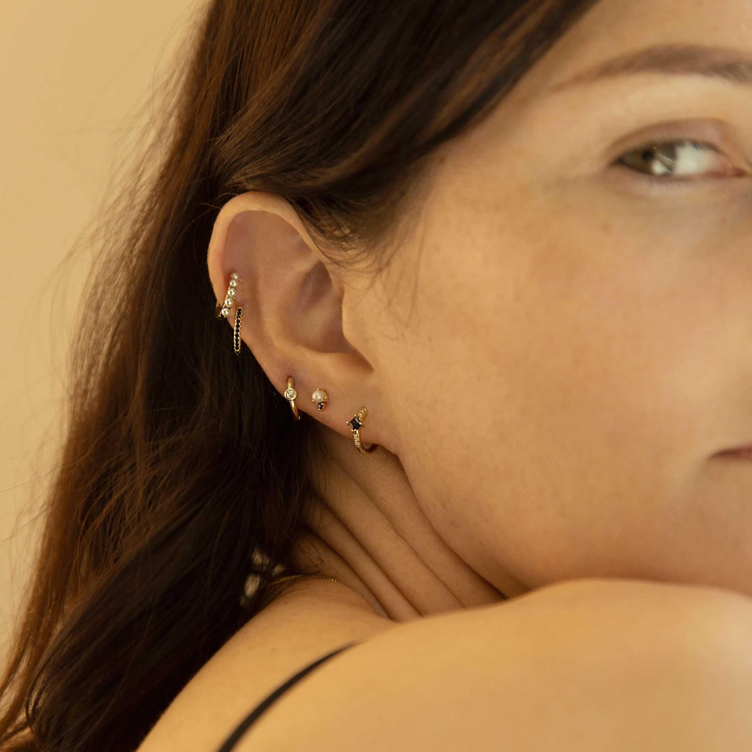 Slovecabin 2019 Single Baru Huggies Klip Crystal Pearl Ring Anting-Anting Perak Sterling 925 Emas Opal Lingkaran Lingkaran Wanita Perhiasan