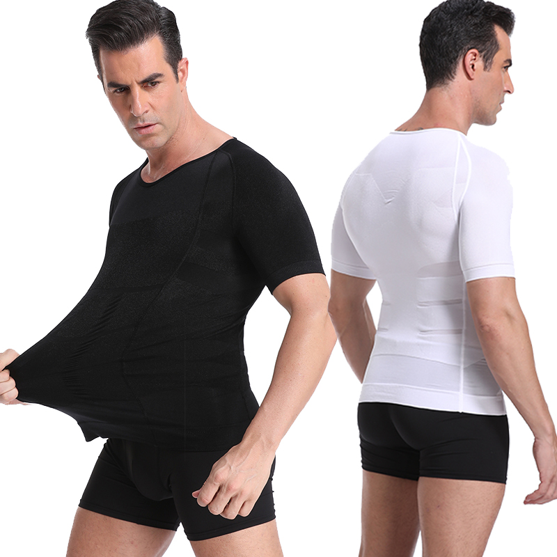 Mens Body Shaper Slimming Belly Control Shirt Compression Vest Elastic Slim Underwear Shapewear  Waist Trainer Shirt