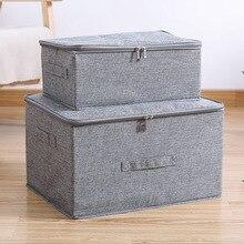 Cotton and linen storage box zipper storage finishing box fabric covered storage box folding sealed box underwear storage box