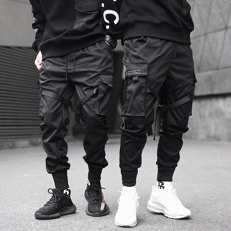 2020 Men's Casual Black Pocket Cargo Pants Harem Jogger Harajuku Sports Pants Hip Hop Beaded Trousers