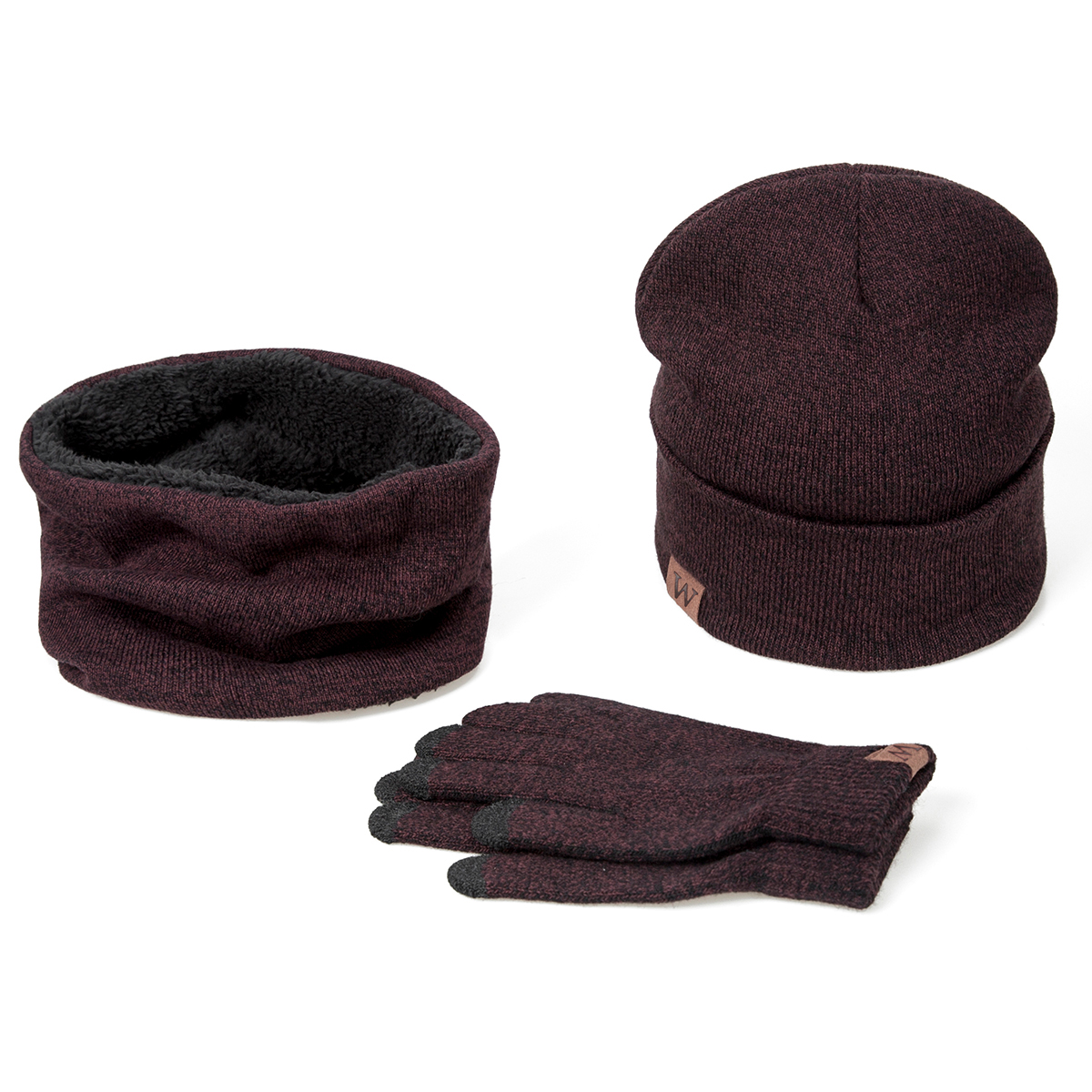 YEABIU, зимняя женская шапка, шарф, перчатки, набор, теплые, для девушек, Skullies Beanies, шапка, Infinity, для мужчин, шапка с сенсорным экраном, перчатки, набор для женщин - Цвет: wine red