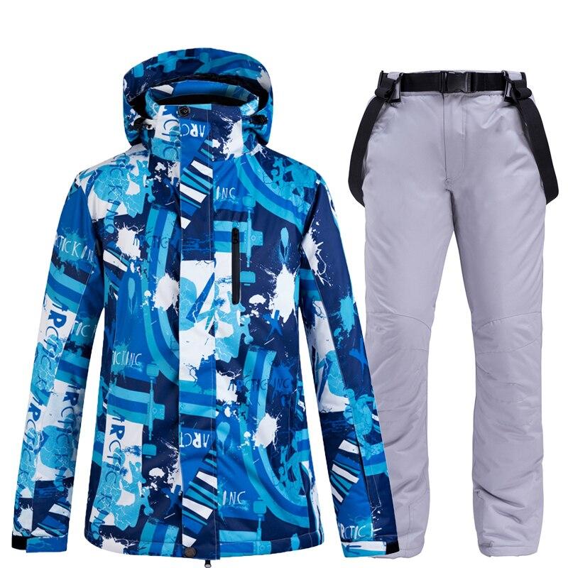 Mode vêtements de neige colorés bleus pour hommes Costume de snowboard imperméable à l'eau Sports de plein air d'hiver combinaison de ski ensembles vestes + pantalon de neige