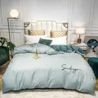 Хлопковый пододеяльник, высококачественное однотонное стеганое одеяло с вышивкой, одиночное двойное постельное белье для отеля и дома, под...